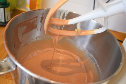 How the brownie mix should look before adding flour.